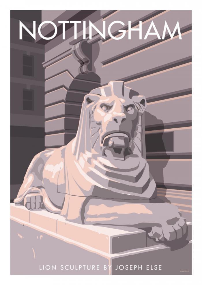 Place in Print Stephen Millership Nottingham Lion Sculpture Travel Poster Travel Poster Art Print