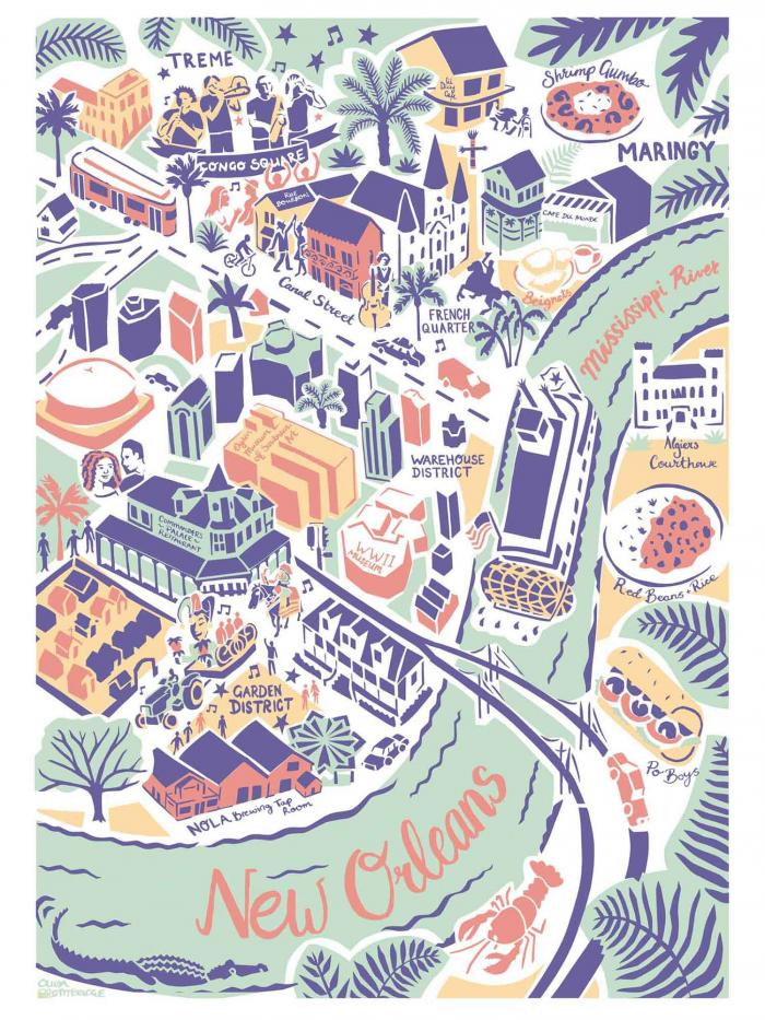 Place in Print Olivia Brotheridge New Orleans Map Art Print