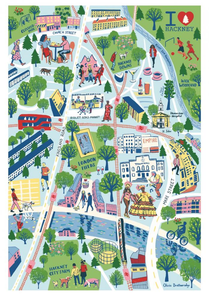 Place in Print Olivia Brotheridge Hackney in Summer Map Art Print