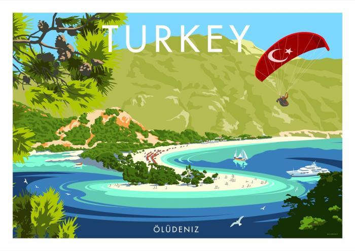 Place in Print Stephen Millership Turkey Oludeniz Travel Poster Travel Poster Art Print