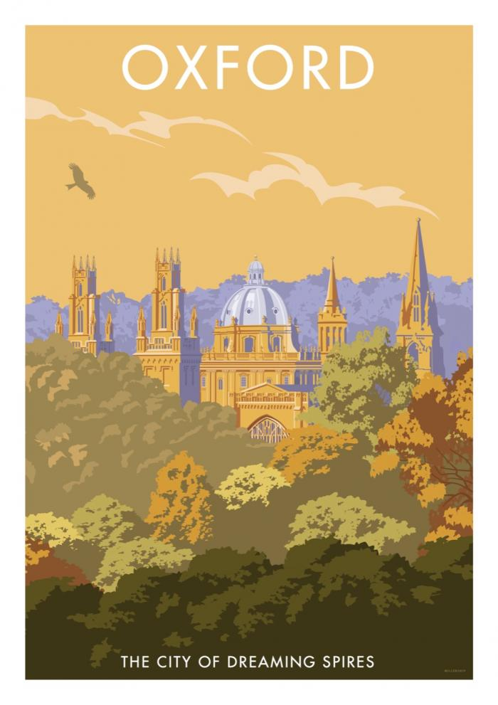 Place in Print Stephen Millership Oxford Dreaming Spires Travel Poster Travel Poster Art Print