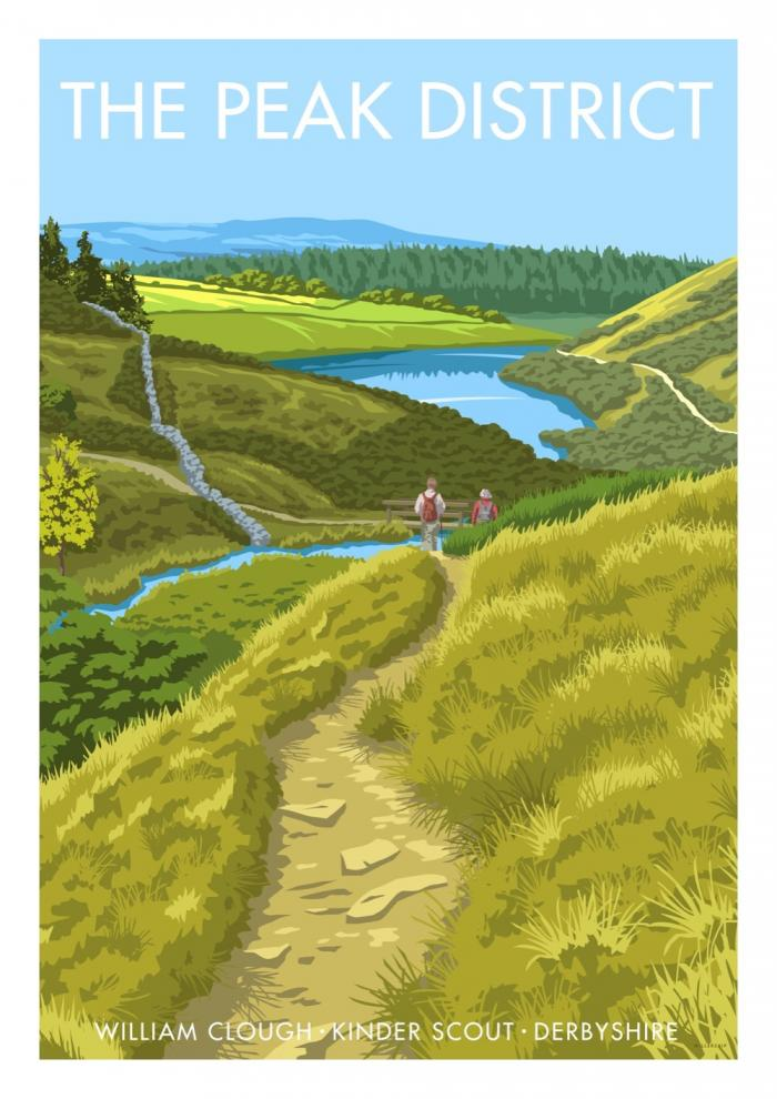 Place in Print Stephen Millership The Peak District Kinder Scout Travel Poster Travel Poster Art Print