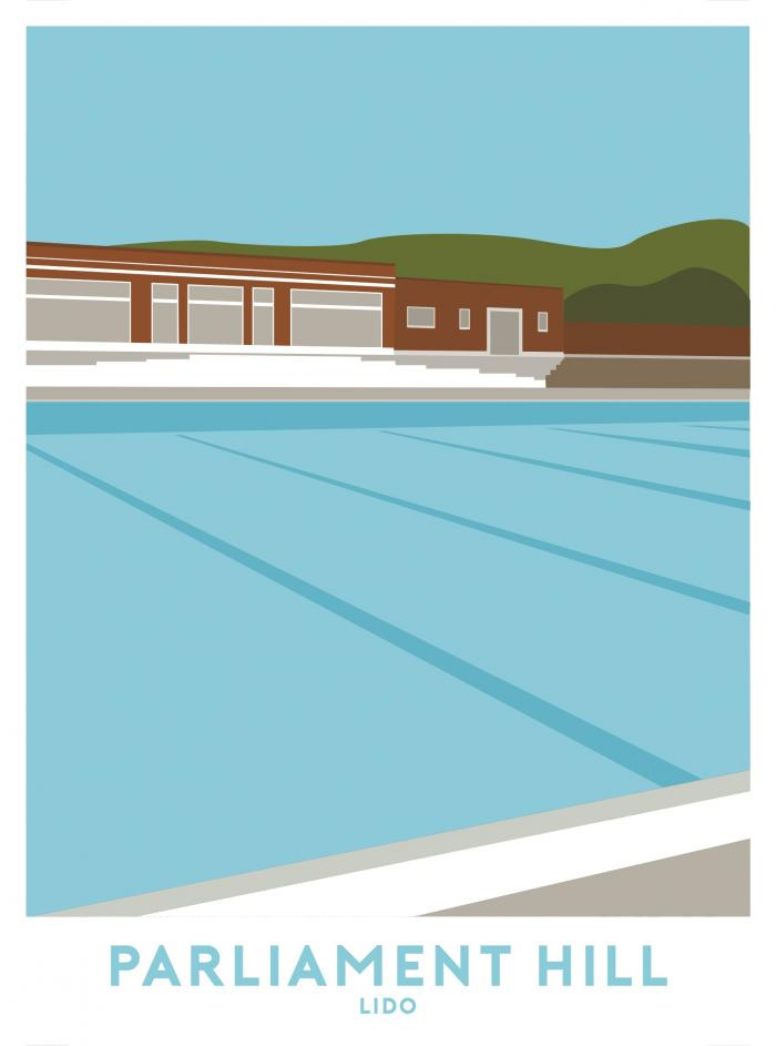 Place in Print Parliament Hill Lido Travel Poster Art Print