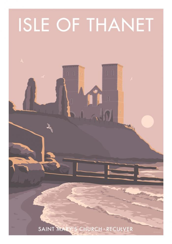 Place in Print Stephen Millership Isle of Thanet Reculver Travel Poster Travel Poster Art Print