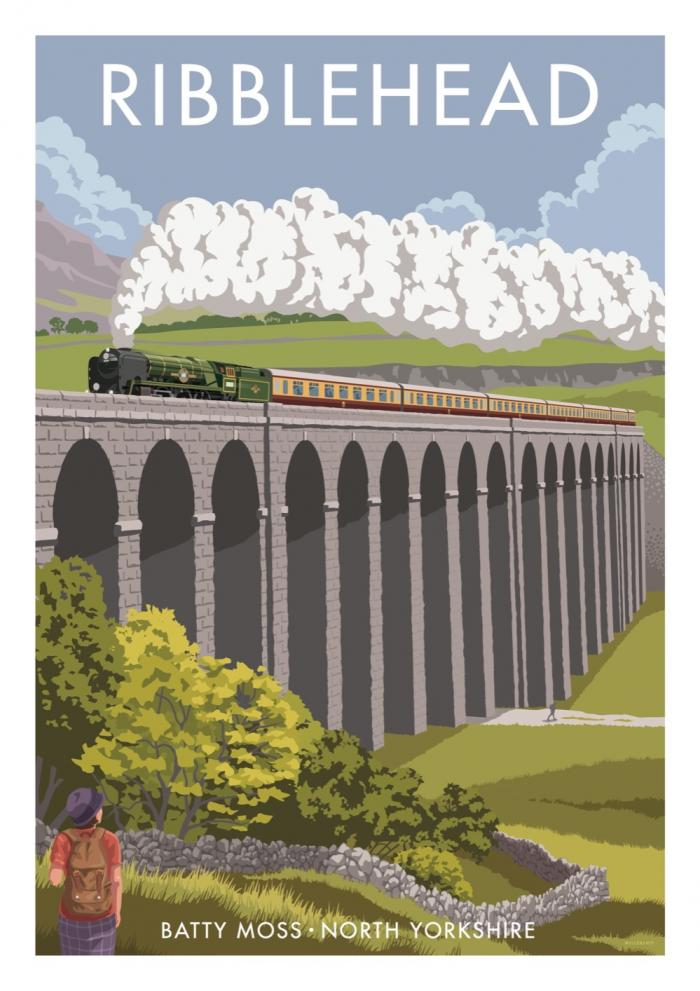 Place in Print Stephen Millership Ribblehead Viaduct Travel Poster Travel Poster Art Print