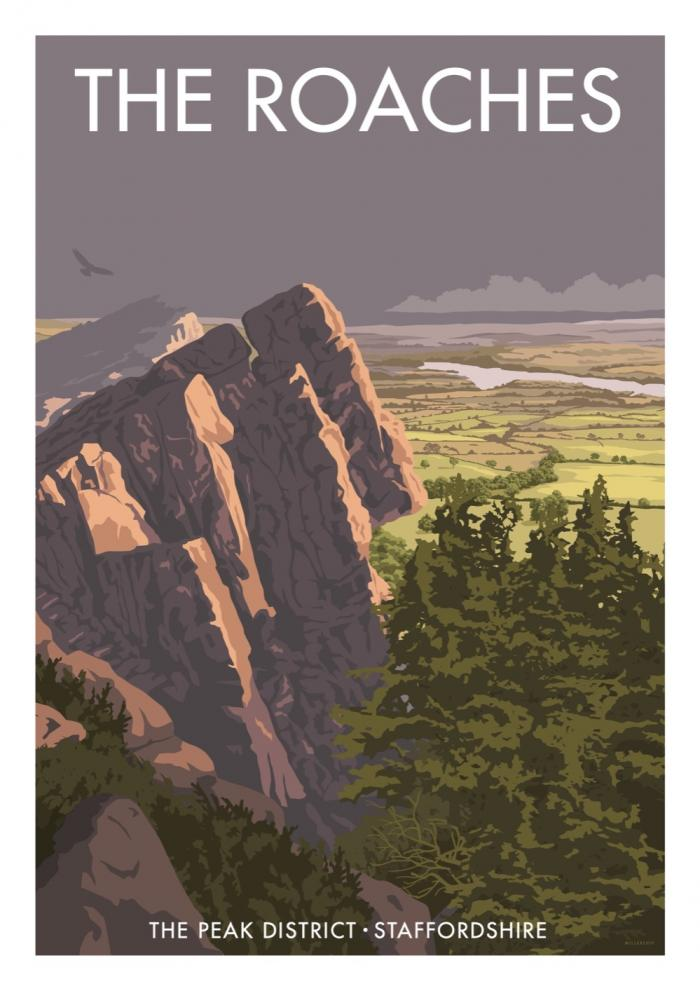 Place in Print Stephen Millership The Roaches Peak District Travel Poster Travel Poster Art Print