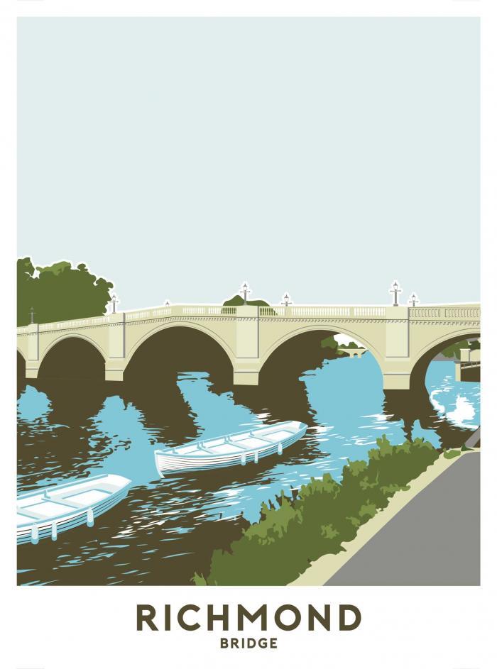 Place in Print Richmond Bridge Travel Poster Art Print