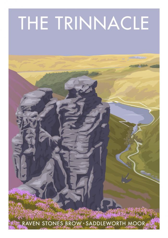 Place in Print Stephen Millership The Trinnacle Saddleworth Moor Travel Poster Travel Poster Art Print