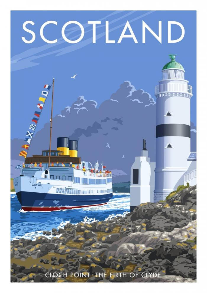 Place in Print Stephen Millership Scotland Cloch Point Travel Poster Travel Poster Art Print