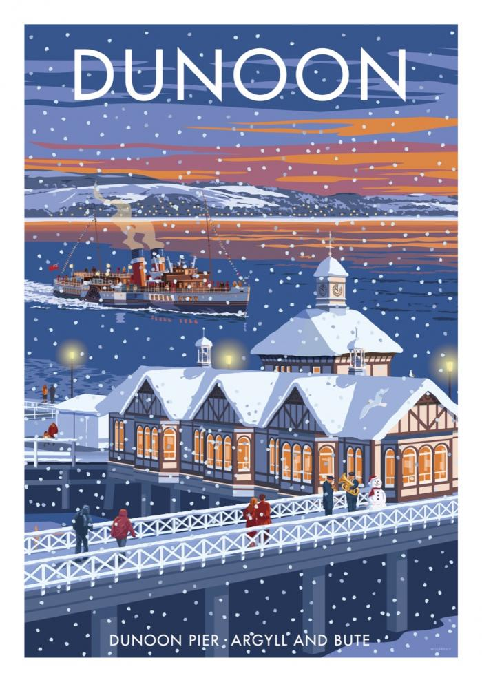 Place in Print Stephen Millership Dunoon Pier at Christmas Travel Poster Travel Poster Art Print