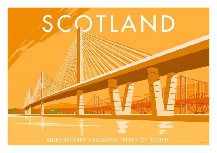 Place in Print Stephen Millership Scotland Queensferry Crossing Travel Poster Travel Poster Art Print
