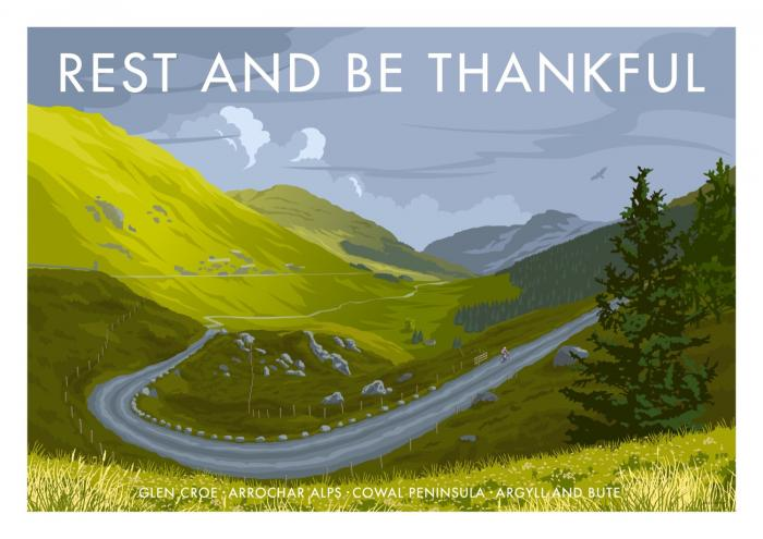 Place in Print Stephen Millership Rest and Be Thankful Travel Poster Travel Poster Art Print