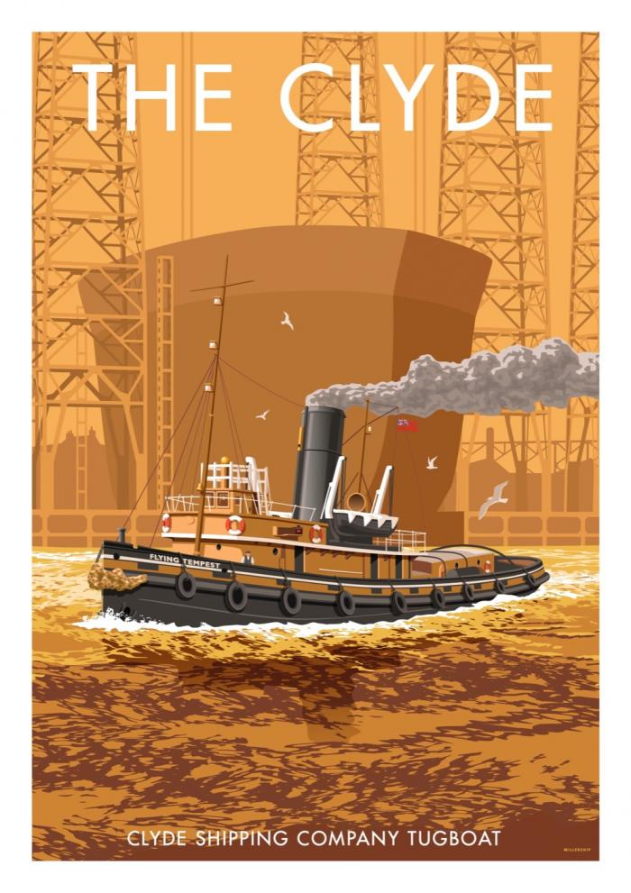 Place in Print Stephen Millership The Clyde Tugboat Travel Poster Travel Poster Art Print