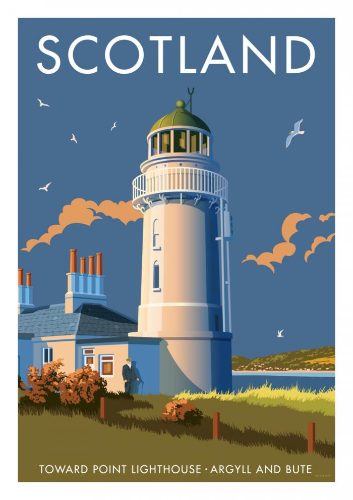 Place in Print Stephen Millership Scotland Toward Point Lighthouse Travel Poster Travel Poster Art Print