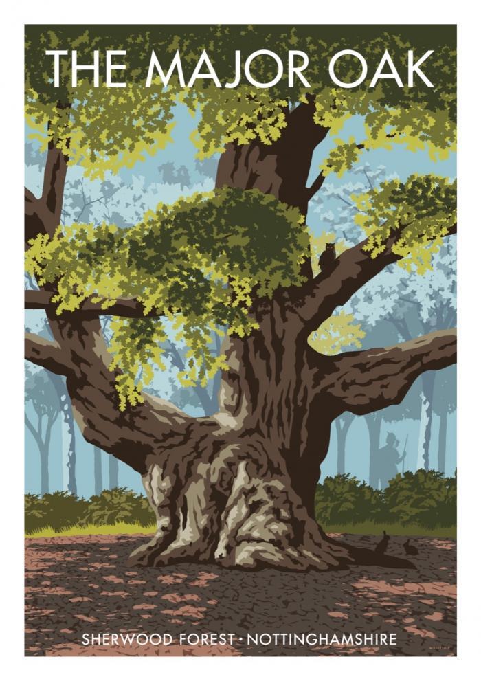 Place in Print Stephen Millership The Major Oak Sherwood Forest Travel Poster Travel Poster Art Print