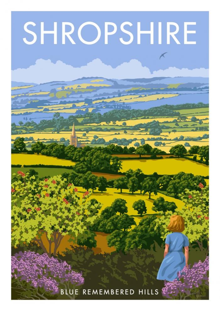 Place in Print Stephen Millership Shropshire Blue Remembered Hills Travel Poster Travel Poster Art Print