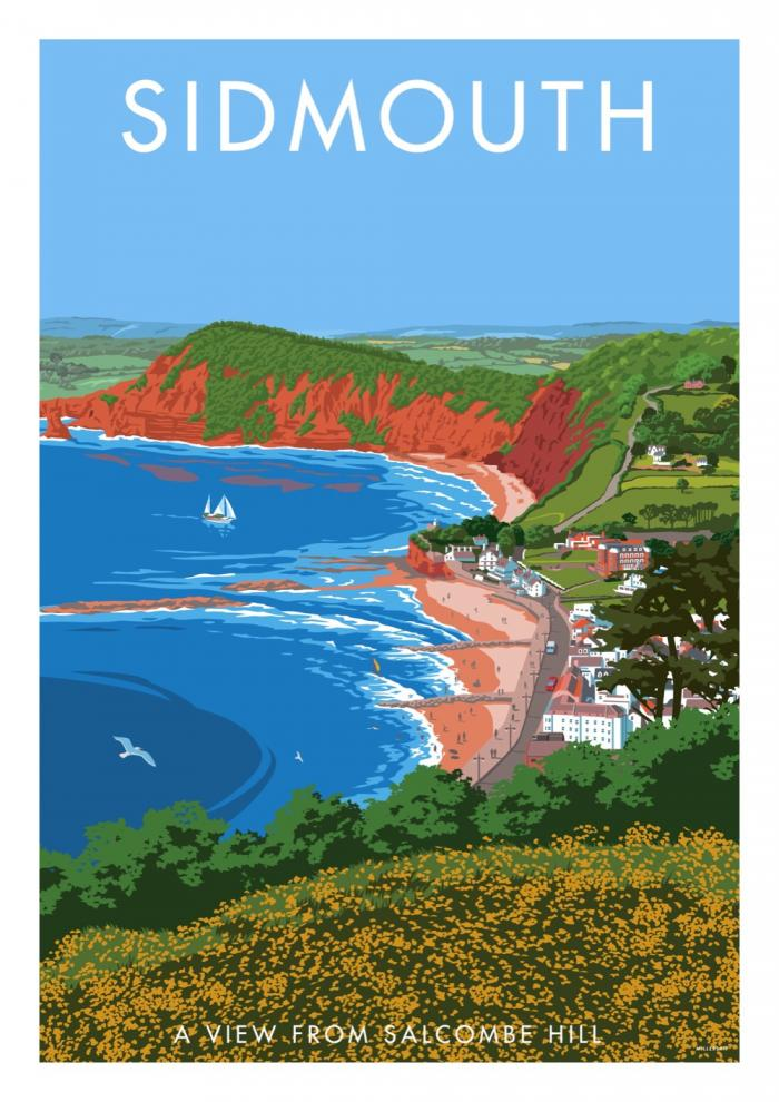 Place in Print Stephen Millership Sidmouth from Salcombe Hill Travel Poster Travel Poster Art Print