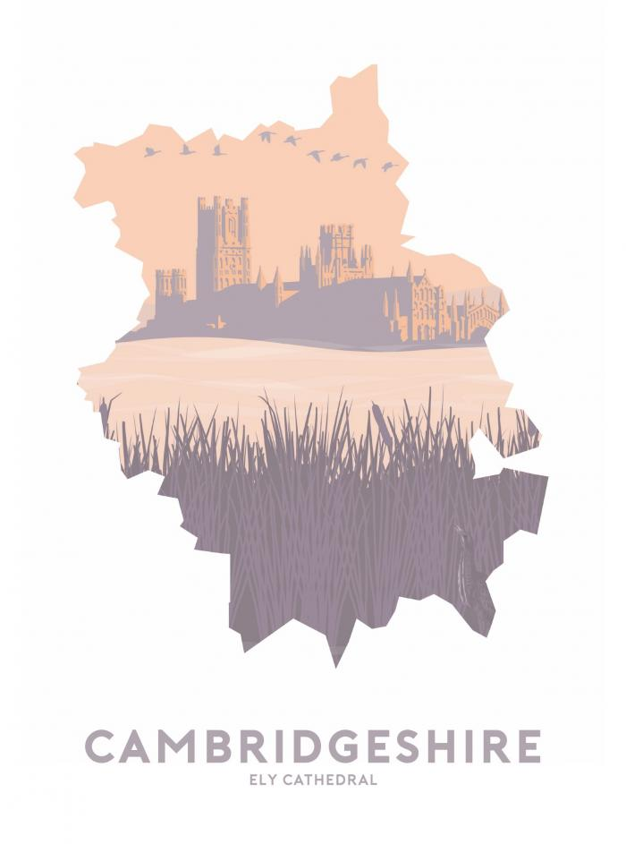 Place in Print Stephen Millership Cambridgeshire - Ely Cathedral Travel Poster Art Print