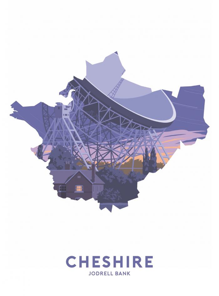 Place in Print Stephen Millership Cheshire - Jodrell Bank Travel Poster Art Print