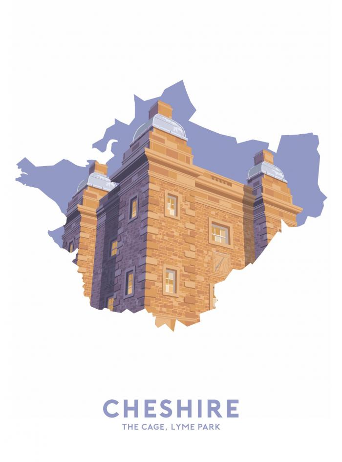Place in Print Stephen Millership Cheshire - The Cage, Lyme Park Travel Poster Art Print