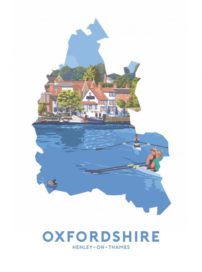 Place in Print Stephen Millership Oxfordshire - Henley-on-Thames Travel Poster Art Print