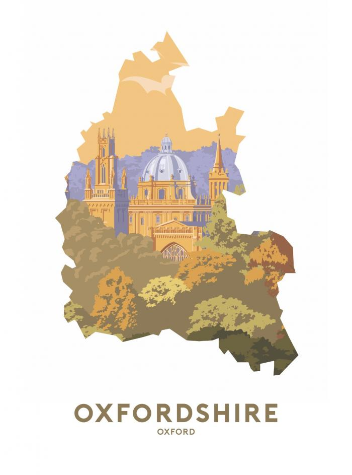 Place in Print Stephen Millership Oxfordshire - Oxford Travel Poster Art Print