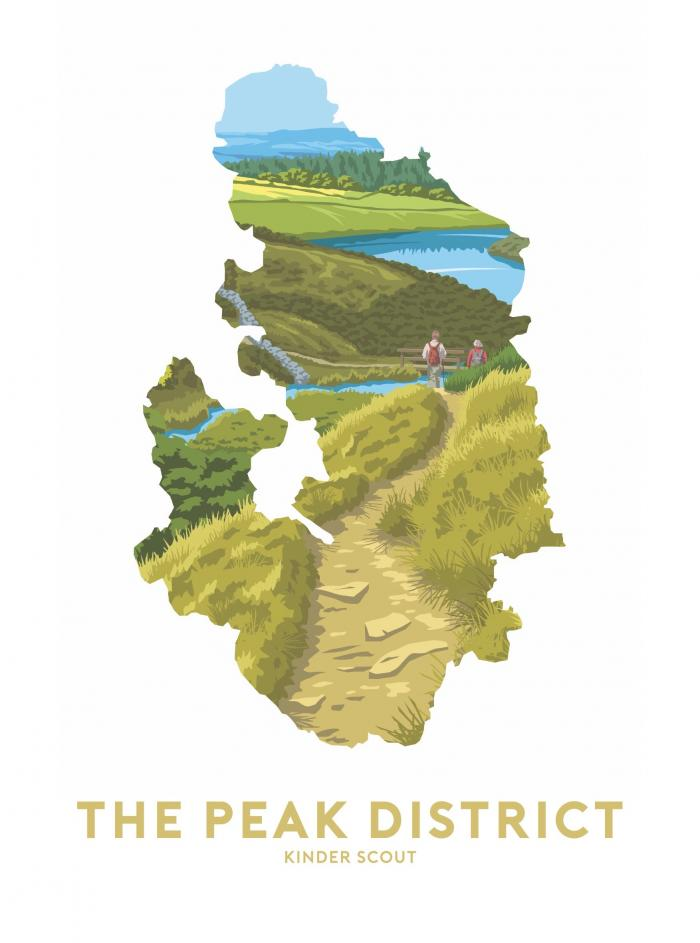 Place in Print Stephen Millership The Peak District - Kinder Scout Travel Poster Art Print