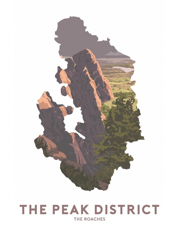 Place in Print Stephen Millership The Peak District - The Roaches Travel Poster Art Print