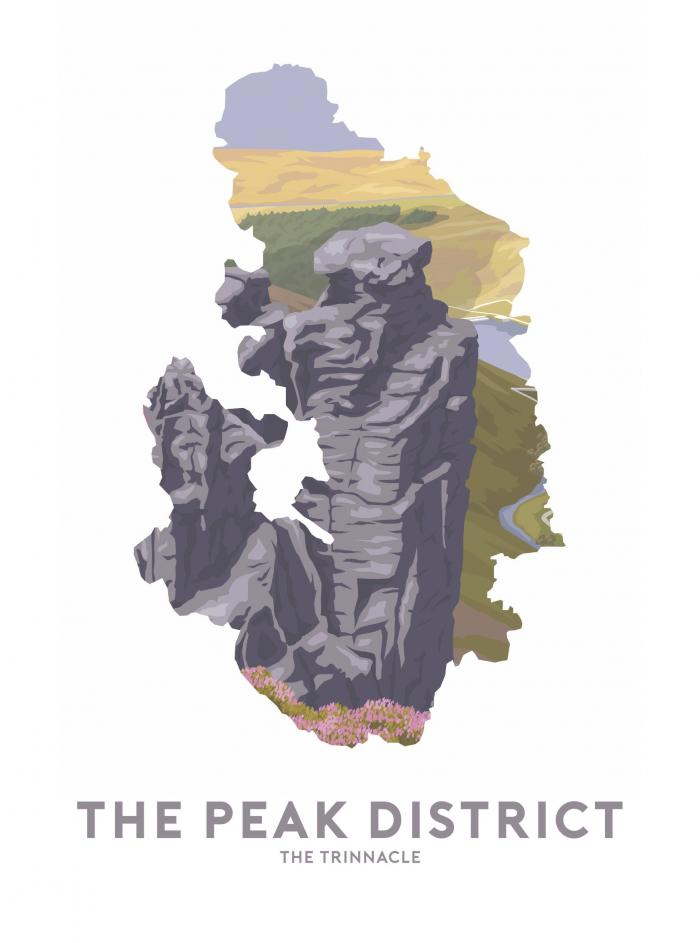Place in Print Stephen Millership The Peak District - The Trinnacle Travel Poster Art Print