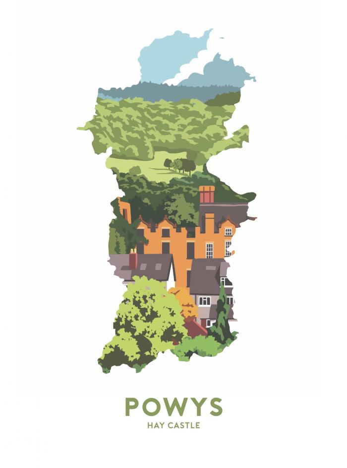 Place in Print Stephen Millership Powys - Hay Castle Travel Poster Art Print