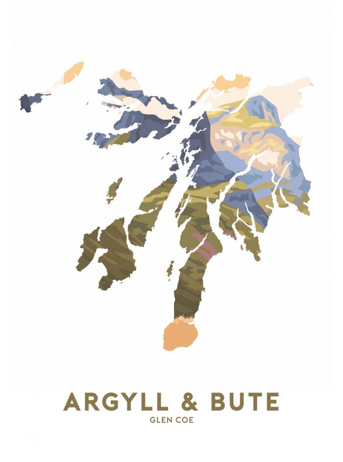 Place in Print Stephen Millership Argyll and Bute - Glen Coe Travel Poster Art Print