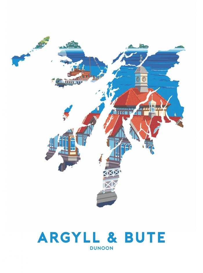 Place in Print Stephen Millership Argyll and Bute - Dunoon Travel Poster Art Print