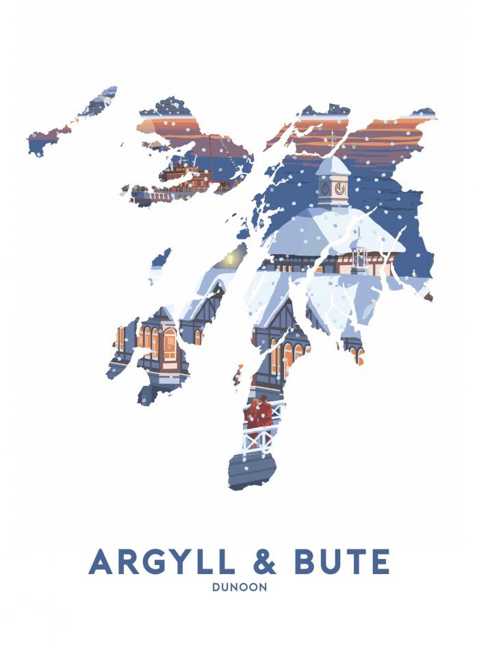 Place in Print Stephen Millership Argyll and Bute - Dunoon Snow Travel Poster Art Print