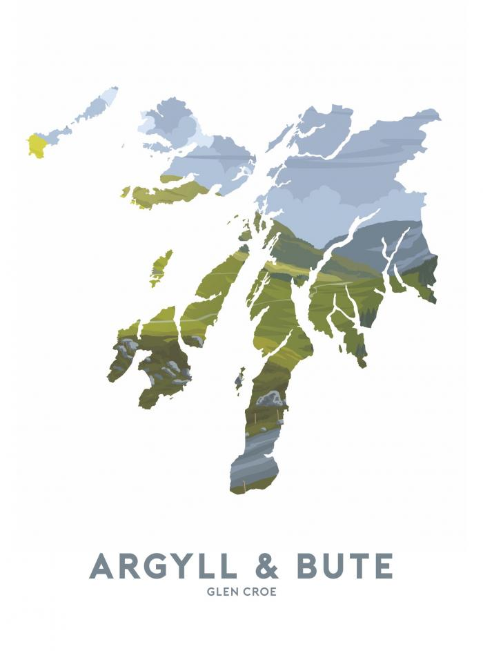Place in Print Stephen Millership Argyll and Bute - Glen Croe Travel Poster Art Print