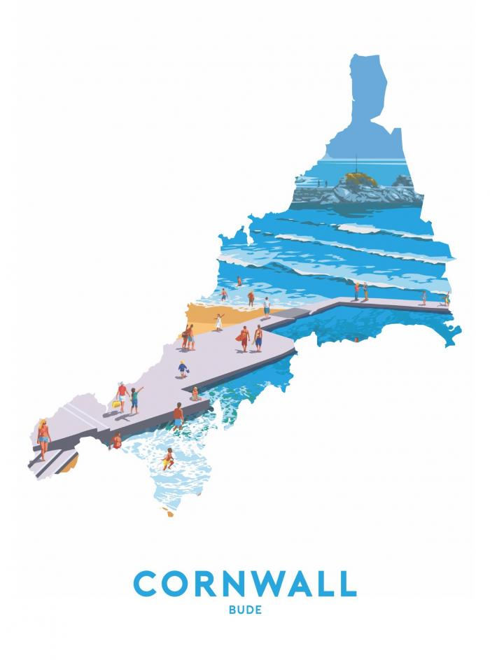 Place in Print Stephen Millership Cornwall - Bude Travel Poster Art Print