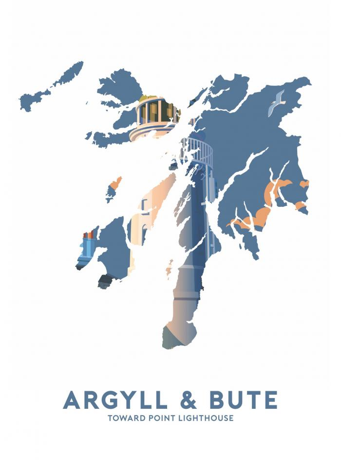 Place in Print Stephen Millership Argyll and Bute - Toward Point Lighthouse Travel Poster Art Print