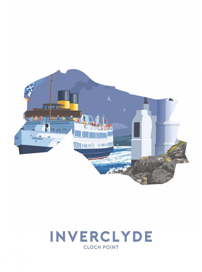 Place in Print Stephen Millership Inverclyde - Cloch Point Travel Poster Art Print