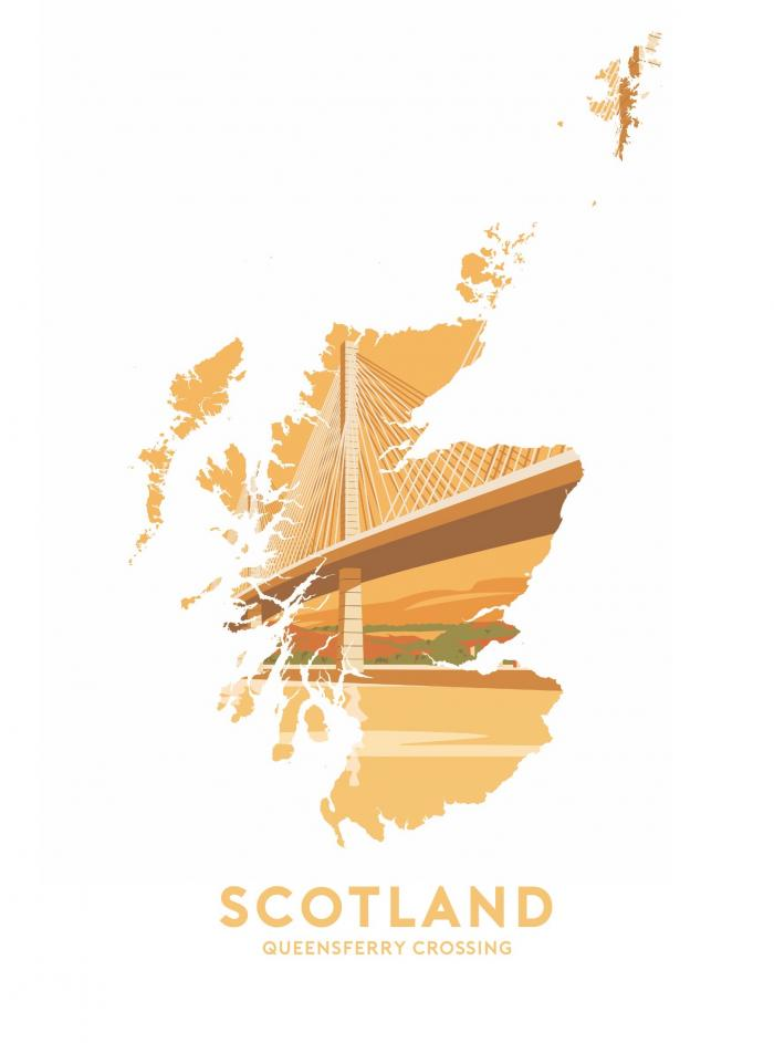Place in Print Stephen Millership Scotland - Queensferry Crossing Travel Poster Art Print