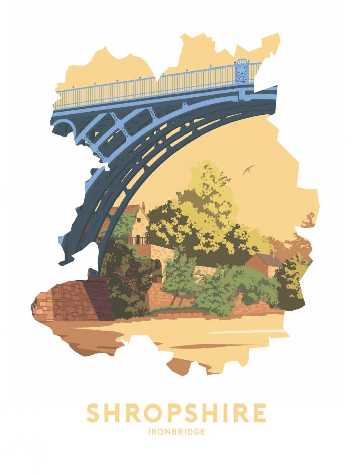 Place in Print Stephen Millership Shropshire - Ironbridge Travel Poster Art Print