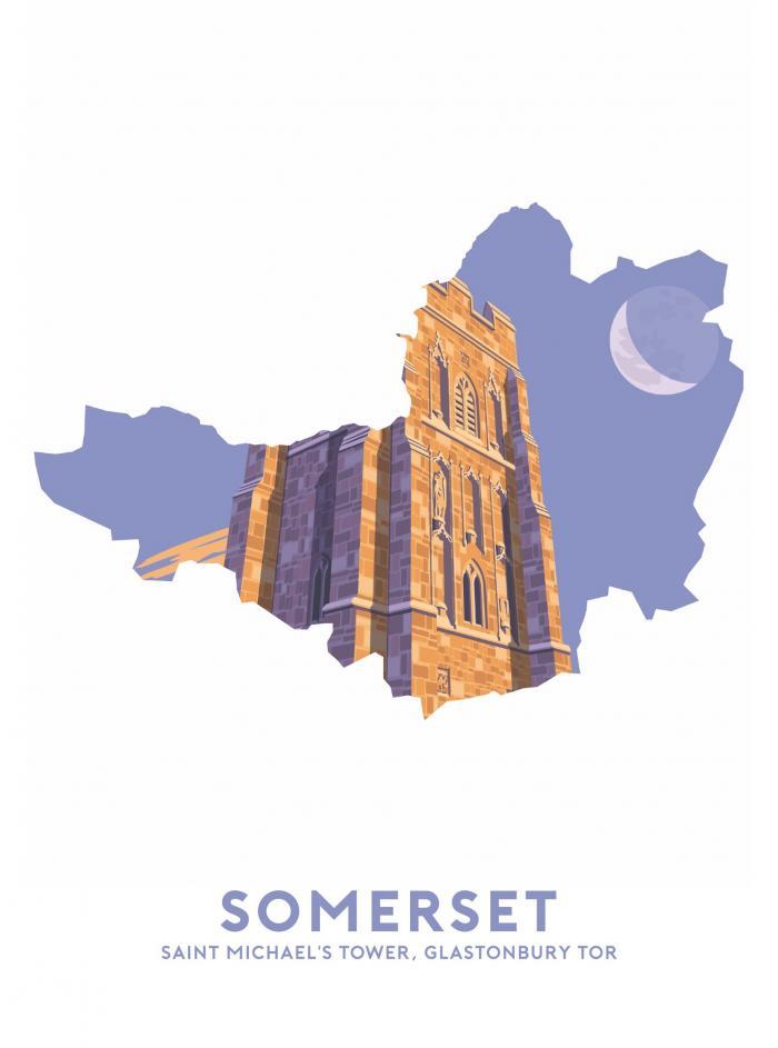 Place in Print Stephen Millership Somerset - Glastonbury Tor Travel Poster Art Print