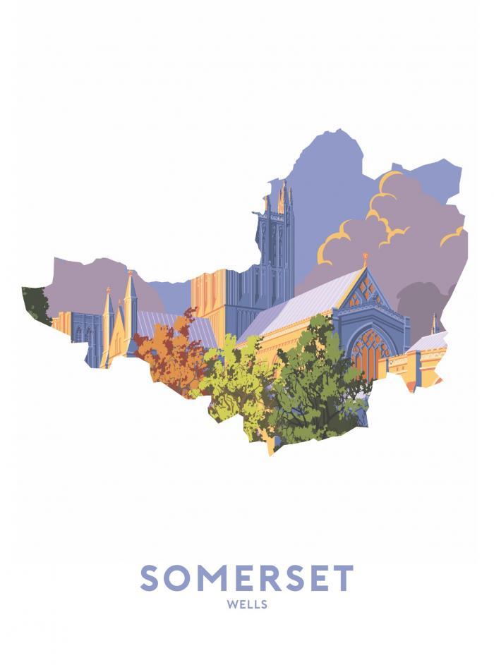 Place in Print Stephen Millership Somerset - Wells Travel Poster Art Print