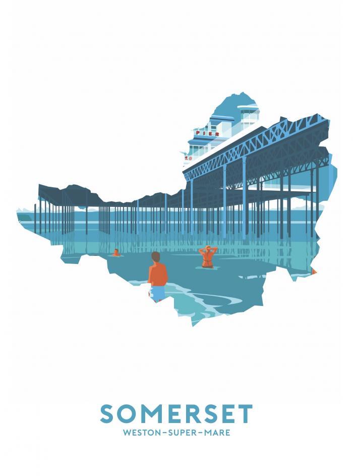 Place in Print Stephen Millership Somerset - Weston-super-Mare Travel Poster Art Print