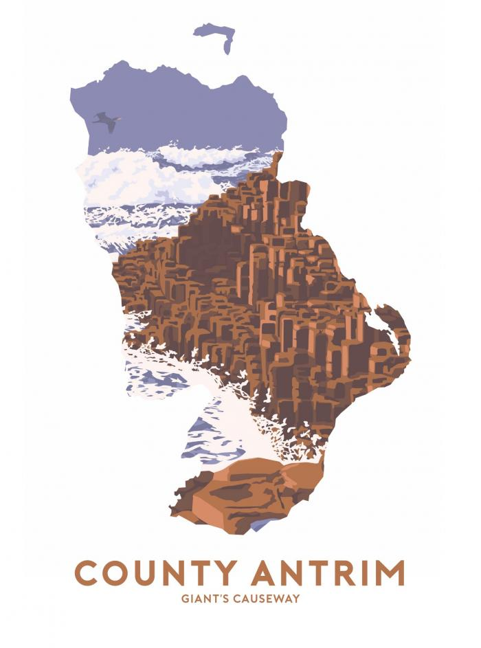 Place in Print Stephen Millership County Antrim - Giant's Causeway Travel Poster Art Print