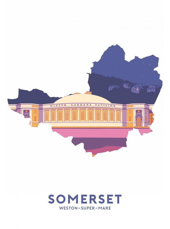 Place in Print Stephen Millership Somerset - Weston-super-Mare Pavilion Travel Poster Art Print