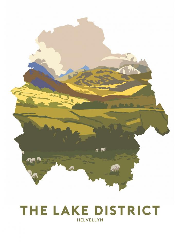 Place in Print Stephen Millership The Lake District - Helvellyn Travel Poster Art Print