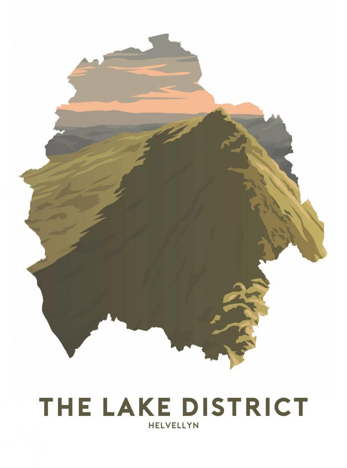 Place in Print Stephen Millership The Lake District - Helvellyn Summit Travel Poster Art Print