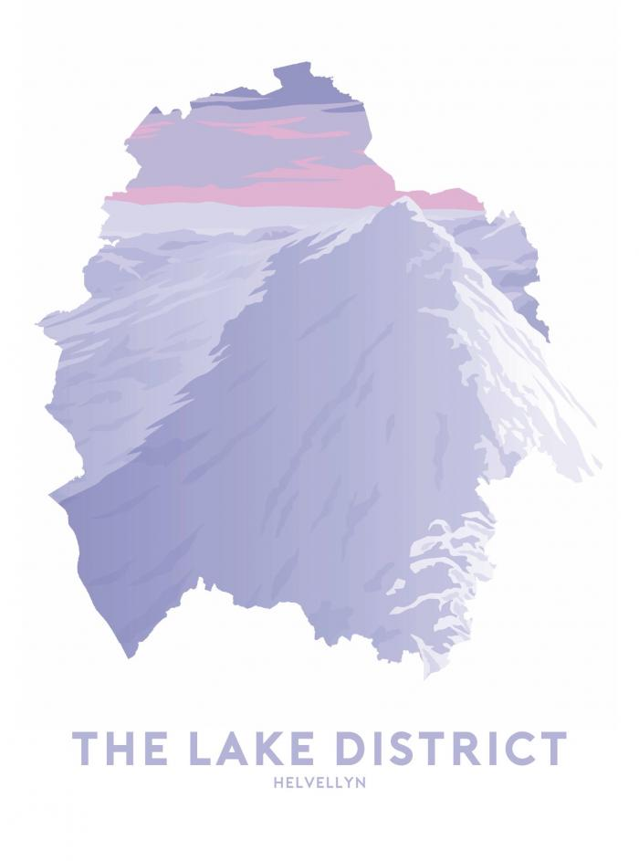 Place in Print Stephen Millership The Lake District - Helvellyn Summit Snow Travel Poster Art Print