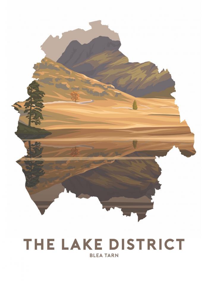 Place in Print Stephen Millership The Lake District - Blea Tarn Travel Poster Art Print