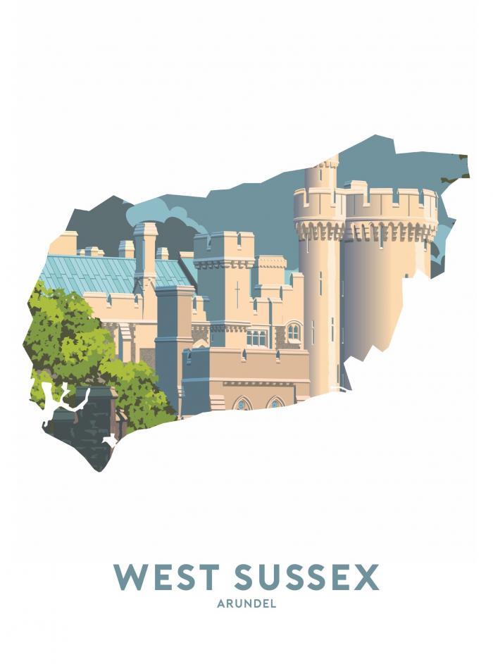 Place in Print Stephen Millership West Sussex - Arundel Travel Poster Art Print