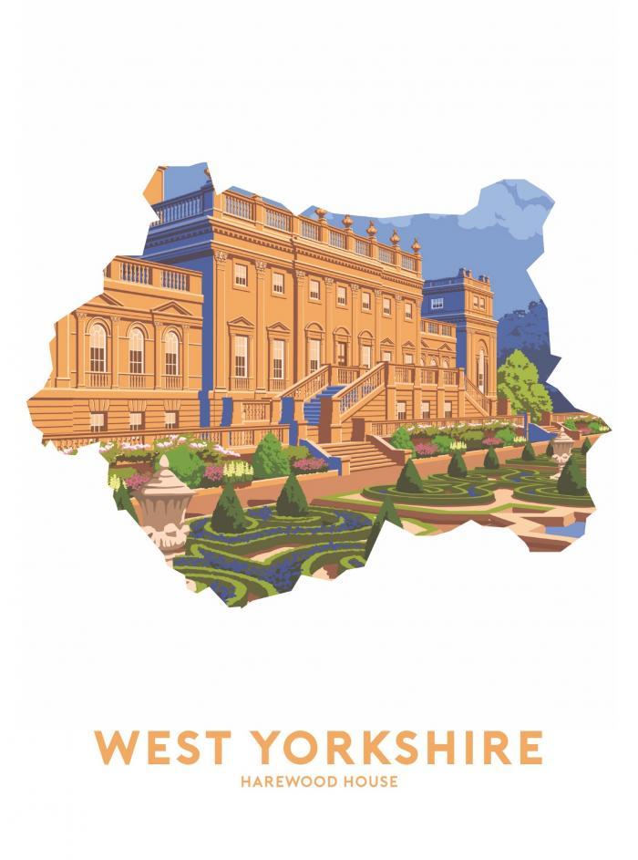 Place in Print Stephen Millership West Yorkshire - Harewood House Travel Poster Art Print